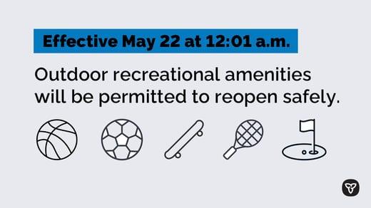 Outdoor recreational amenities changes